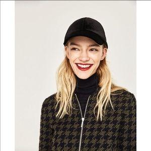 Zara | Green & Navy Houndstooth Peplum Blazer